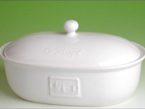 Brottopf in weiss – Brotkasten – oval – Steingut mit Belüftung